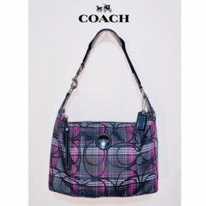 Coach purple plaid tartan hobo purse